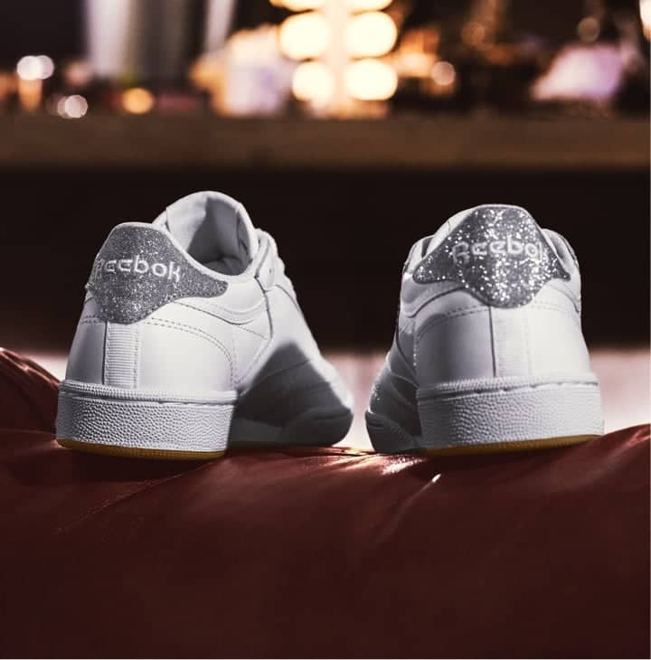 Rear view of White Reebok Classic Club C
